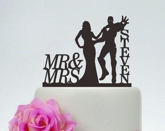 Iron Man Cake Topper, Wedding Cake Topper,Mr and Mrs Cake Topper With last name,Superhero Cake Topper,Custom Cake Topper,Hero Wedding C137