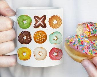 Coffee Mug Donuts Coffee Cup - Colorful Donuts - Doughnuts Mug - Doughnuts Coffee Cup
