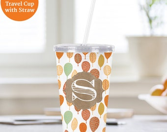 Autumn Leaves Monogram Cup With Lid and Straw - Personalized Acrylic Tumbler - BPA FREE - Water Cup - Customized Travel Cup
