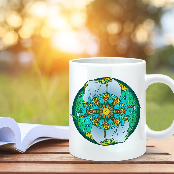 Coffee Mug Elephant Mandala Design Coffee Cup - Elephant Coffee Mug