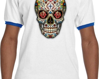 Men's Skull Shirt Sugar Skull with Roses Ringer Tee T-Shirt WS-16553-923