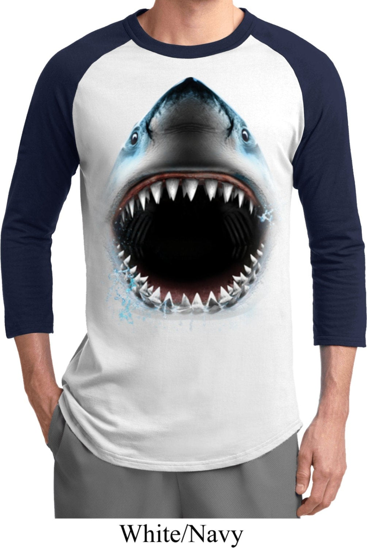 men 39 s funny shirt big shark face raglan tee t shirt. Black Bedroom Furniture Sets. Home Design Ideas