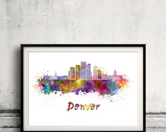 Denver skyline in watercolor over white background with name of city - Poster Wall art Illustration Print - SKU 2180