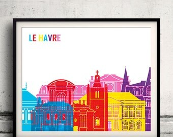Le Havre pop art skyline 8x10 in. to 12x16 in. Fine Art Print Glicee Poster Gift Illustration Pop Art Colorful Landmarks - SKU 1089