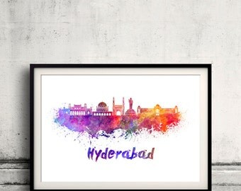 Hyderabad skyline in watercolor over white background with name of city 8x10 in. to 12x16 in. Poster art Illustration Print  - SKU 1123