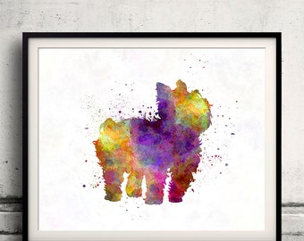 Yorkshire Terrier in watercolor 8x10 in. to 12x16 in. Fine Art Print Glicee Poster Decor Home Watercolor Illustration - SKU 1150