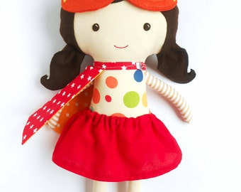 DOLL SUPERHERO GIRL with mask and cape and doll clothing, rag doll toy toddler gift for superhero birthday party, kids gift for girls