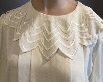 Vintage Size 18 Cream 80s Blouse Scalloped Collar 1980's Blouse Tie Waist-Secretary Blouse- Prim proper blouse