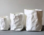 White paper bag, washable paper pots, baskets, bins, storage, home decor, simple living, Minimalistic, Nordic, Scandinavian, Nursery storage