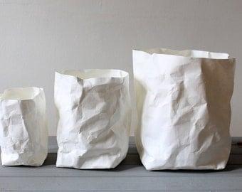 SALE - White paper bag, washable paper pots, baskets, bins, storage, home decor, simple living, Minimalistic, Nordic, Scandinavian, Nursery