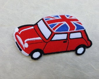 Red Volkswagen Beetle Bug Iron on patch (L) 9.3 x 5.2 cm - Car Applique Embroidered Iron on Patch