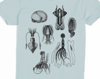 Squid Shirt - Women's Squid T-shirt - Graphic Tee for Women - Cephalopods - Cool Tshirt - Slothwing Tees