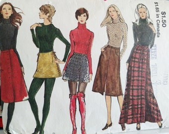 1970s Vogue Pattern # 8125-SKIRTS-5 Views-Side-Laced Mini-Side-Wrapped A-Line Maxi-Topstich Trim-Front Slit-Side Button Closing-Waist 27