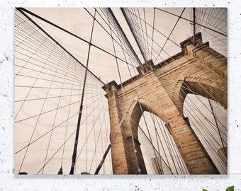 Brooklyn Bridge Print On Wood, New York Print, Brooklyn Bridge Art, Brooklyn Bridge Painting, New York Wall Art, New York Gift Idea, NYC