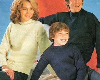Guernsey Sweater Knitting Pattern - Men Women Children - 24 to 50 inches