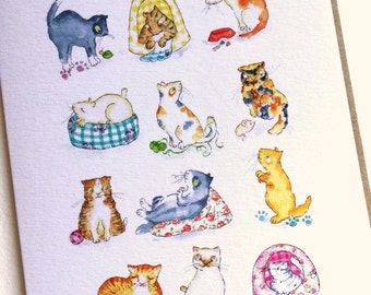 Greetings Card, Cats and kittens