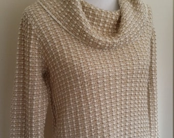 Cowl neck sweater, L, gold turtleneck, waffle knit sweater, Jones New York sweater, beige cowl neck, textured sweater, white sweater