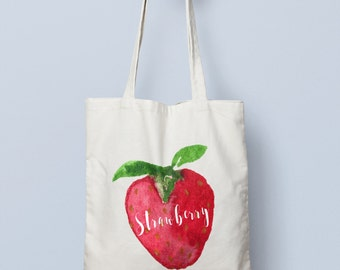 Strawberry Canvas Tote
