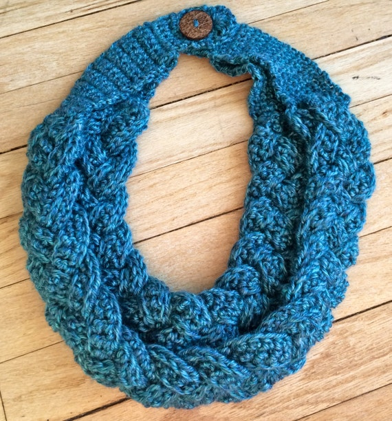 Items similar to Crocheted Braided Cowl, Scarf, Neck Warmer, Double Layered C...