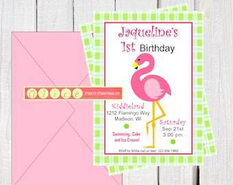 Pink Flamingo - Birthday invitation - Pink Flamingos printables - girls first birthday invitations - Pink and Green plaid Party printables.
