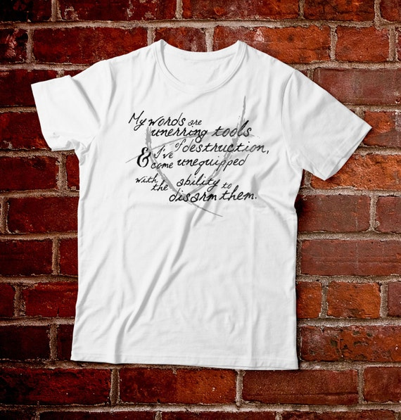 Words of Unerring Destruction Shirt-- Gansey Quote, Raven Boys,  Raven Cycle, Maggie Stiefvater, Cabeswater, Raven King, Blue Lily, Book