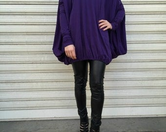"""Oversized Tunic Dress / Loose Purple Blouse / Long Sleeve Top /  Casual Top / EXPRESS SHIPPING - """"Rollin'"""""""