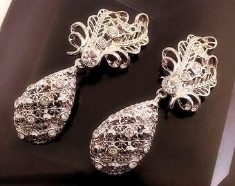 Vintage Barrera For Avon, Glamorous Silver Rhinestone Convertible Earrings, Two Looks in One