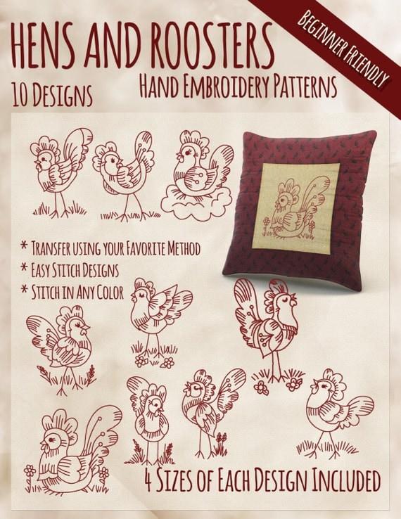 Sale hand embroidery patterns redwork designs hens