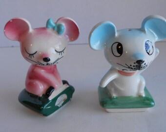 Rare and Vintage PY / NAPCO Anthropomorphic Mice Salt & Pepper Shakers