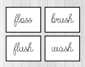 Bathroom Prints, Wash, Flush, Brush, Floss, Set Of Four Prints, Bathroom Wall Art
