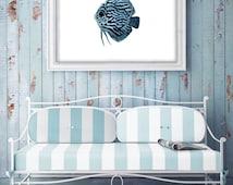 Blue tropical Fish, fish painting, nautical watercolor