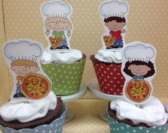 Pizza Party Cupcake Topper Decorations - Set of 10