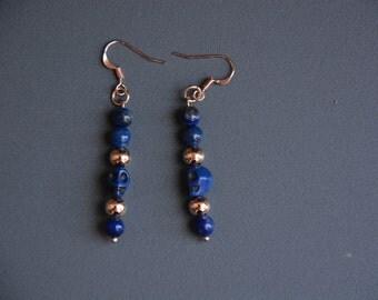 Lapis Lazuli, rose gold, and blue skull beaded Earrings