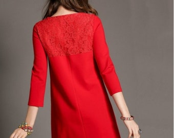 Holiday Maternity Red Christmas Dress Black Lace