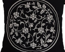 Black and white cotton pillow cover grey embroidered flowers elegant embroidery cushion case, 16X16 inch