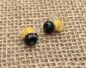 1   Honey Bee Lampwork Glass Bead   Bumble Bee Jewelry   Honey Bee Earrings   15x16mm