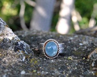 Aquamarine Silver Ring, Rustic Silver Ring, Aquamarine Cabochon Ring, March Birthstone Ring, Birthstone