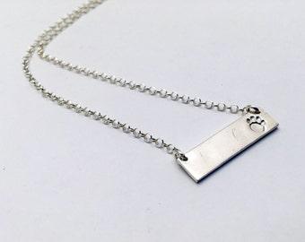 Dog lover gift, Bar Necklace, Silver bar necklace dog jewelry  dog paw necklace,silver dog paw jewelry, animal lover gift dog lover necklace