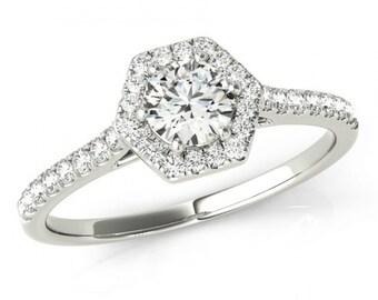 1 Carat Forever One Moissanite & Hexagon Diamond Halo Engagement Ring 14k White Gold - Moissanite Engagement Rings for Women - Anniversary