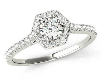 Round Diamond & Hexagon Halo Engagement Ring 14k White Gold - Diamond Engagement Rings - Petite Diamond Rings - Anniversary Rings for Women