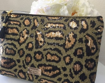 Sequin Leopard Clutch, Sequined, Leopard, Clutch, Purse, Gold, Black