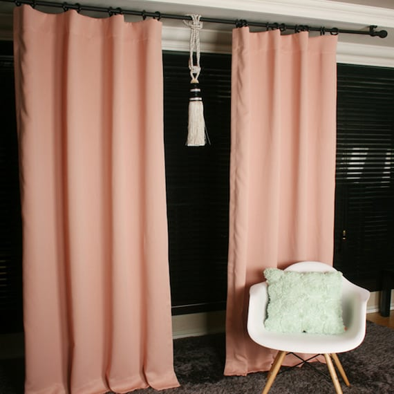 Pale Peach Blackout Curtain Drapery Panel For Living By Enapremium