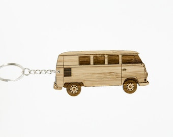 VW Bus Bamboo Keychain