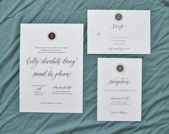 Modern Calligraphy Wedding Invitation Suite | **DEPOSIT**