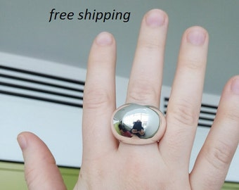 Large dome silver ring; 92.5 sterling silver