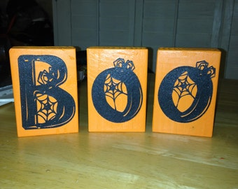 "Halloween ""BOO' wooden blocks"