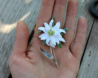 Edelweiss jewelry, OOAK brooch made of polymer clay and 925silver, Christmas gift for her, fimo bohemian jewelry