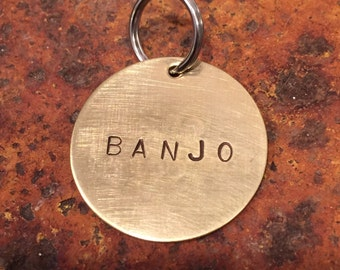 LARGE - Custom personalized modern simple hand-stamped dog ID tag - Name + Number - simple - aluminum, brass, copper - gift for dog owner