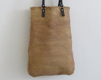 Beige canvas tote-Beige Shoulder bag-Free shipping-Hand Made-Canvas Tote-Women Beige Canvas Tote