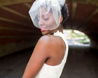 Bridal Headband W/ Swarovski Crystal Edge Blusher Veil, Sophisticated Fascinator Short Veil  - Alexandra